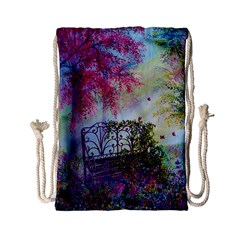 Bench In Spring Forest Drawstring Bag (small) by Amaryn4rt