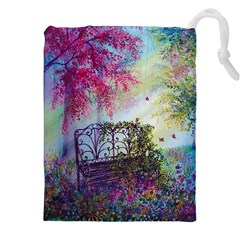 Bench In Spring Forest Drawstring Pouches (xxl) by Amaryn4rt
