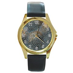 Coral Pattern Round Gold Metal Watch by Amaryn4rt