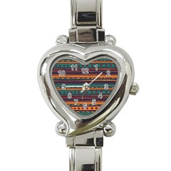 Ethnic Style Tribal Patterns Graphics Vector Heart Italian Charm Watch by Amaryn4rt