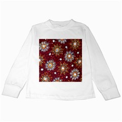 India Traditional Fabric Kids Long Sleeve T Shirts by Amaryn4rt
