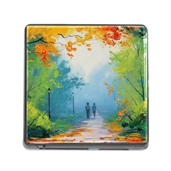 Park Nature Painting Memory Card Reader (square) by Amaryn4rt