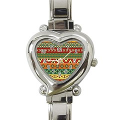 Mexican Folk Art Patterns Heart Italian Charm Watch by Amaryn4rt