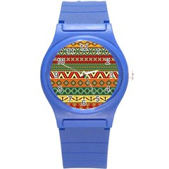 Mexican Folk Art Patterns Round Plastic Sport Watch (s) by Amaryn4rt