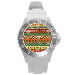 Mexican Folk Art Patterns Round Plastic Sport Watch (l)