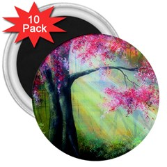 Forests Stunning Glimmer Paintings Sunlight Blooms Plants Love Seasons Traditional Art Flowers Sunsh 3  Magnets (10 Pack)  by Amaryn4rt