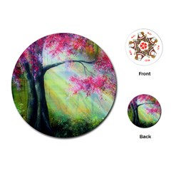Forests Stunning Glimmer Paintings Sunlight Blooms Plants Love Seasons Traditional Art Flowers Sunsh Playing Cards (round)