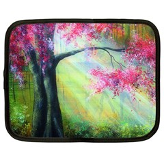 Forests Stunning Glimmer Paintings Sunlight Blooms Plants Love Seasons Traditional Art Flowers Sunsh Netbook Case (large) by Amaryn4rt