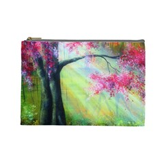 Forests Stunning Glimmer Paintings Sunlight Blooms Plants Love Seasons Traditional Art Flowers Sunsh Cosmetic Bag (large)  by Amaryn4rt