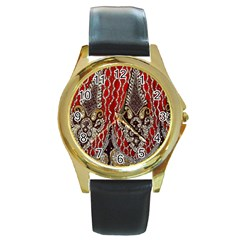 Indian Traditional Art Pattern Round Gold Metal Watch by Amaryn4rt