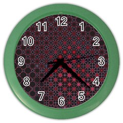 Star Patterns Color Wall Clocks by Amaryn4rt