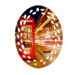 Telephone Box London Night Oval Filigree Ornament (two Sides) by Amaryn4rt