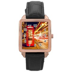Telephone Box London Night Rose Gold Leather Watch  by Amaryn4rt