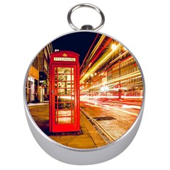 Telephone Box London Night Silver Compasses