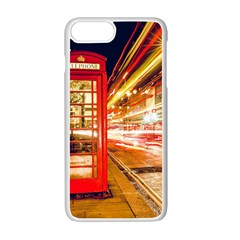 Telephone Box London Night Apple Iphone 7 Plus White Seamless Case