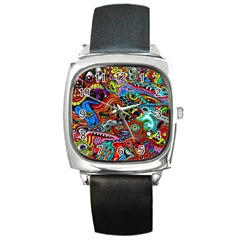 Vector Art Pattern Square Metal Watch by Amaryn4rt