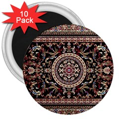 Vectorized Traditional Rug Style Of Traditional Patterns 3  Magnets (10 Pack)  by Amaryn4rt