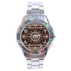 Vectorized Traditional Rug Style Of Traditional Patterns Stainless Steel Analogue Watch by Amaryn4rt