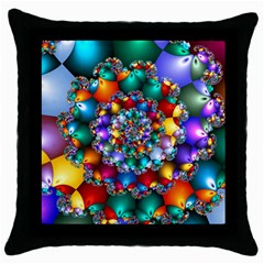 Rainbow Spiral Beads Throw Pillow Case (black) by WolfepawFractals