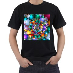 Rainbow Spiral Beads Men s T Shirt (black)