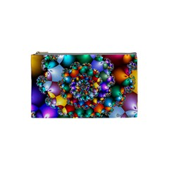 Rainbow Spiral Beads Cosmetic Bag (small)  by WolfepawFractals