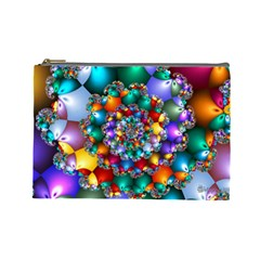 Rainbow Spiral Beads Cosmetic Bag (large)