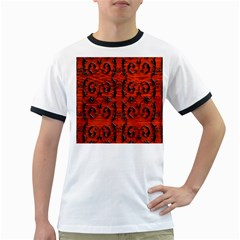 3d Metal Pattern On Wood Ringer T-shirts by Amaryn4rt