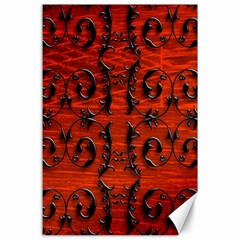 3d Metal Pattern On Wood Canvas 24  X 36  by Amaryn4rt