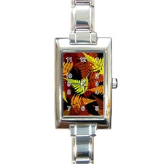 3d Red Abstract Fern Leaf Pattern Rectangle Italian Charm Watch by Amaryn4rt