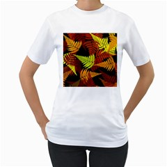 3d Red Abstract Fern Leaf Pattern Women s T Shirt (white) (two Sided) by Amaryn4rt