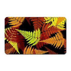 3d Red Abstract Fern Leaf Pattern Magnet (rectangular) by Amaryn4rt