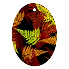 3d Red Abstract Fern Leaf Pattern Oval Ornament (two Sides) by Amaryn4rt