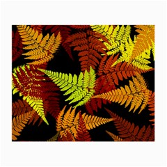 3d Red Abstract Fern Leaf Pattern Small Glasses Cloth (2 Side) by Amaryn4rt