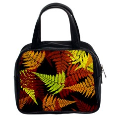 3d Red Abstract Fern Leaf Pattern Classic Handbags (2 Sides) by Amaryn4rt