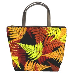 3d Red Abstract Fern Leaf Pattern Bucket Bags