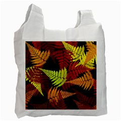 3d Red Abstract Fern Leaf Pattern Recycle Bag (two Side)  by Amaryn4rt