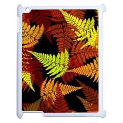 3d Red Abstract Fern Leaf Pattern Apple Ipad 2 Case (white) by Amaryn4rt
