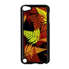 3d Red Abstract Fern Leaf Pattern Apple Ipod Touch 5 Case (black) by Amaryn4rt