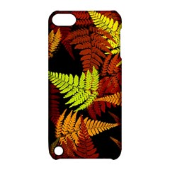 3d Red Abstract Fern Leaf Pattern Apple Ipod Touch 5 Hardshell Case With Stand by Amaryn4rt