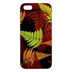 3d Red Abstract Fern Leaf Pattern Apple Iphone 5 Premium Hardshell Case by Amaryn4rt