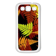 3d Red Abstract Fern Leaf Pattern Samsung Galaxy S3 Back Case (white) by Amaryn4rt