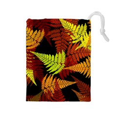 3d Red Abstract Fern Leaf Pattern Drawstring Pouches (large)  by Amaryn4rt