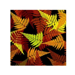 3d Red Abstract Fern Leaf Pattern Small Satin Scarf (square) by Amaryn4rt