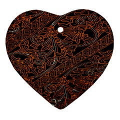 Art Traditional Indonesian Batik Pattern Heart Ornament (two Sides) by Amaryn4rt