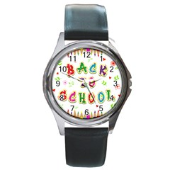 Back To School Round Metal Watch by Amaryn4rt