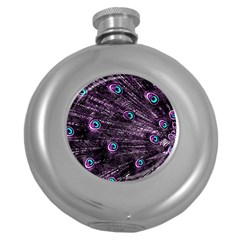 Bird Color Purple Passion Peacock Beautiful Round Hip Flask (5 Oz) by Amaryn4rt