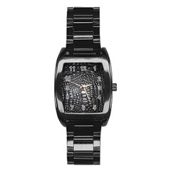 Black Alligator Leather Stainless Steel Barrel Watch