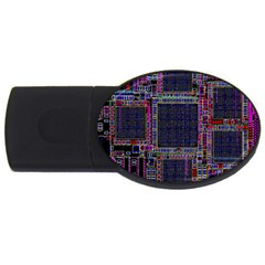 Technology Circuit Board Layout Pattern Usb Flash Drive Oval (2 Gb) by Amaryn4rt