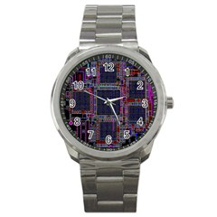 Technology Circuit Board Layout Pattern Sport Metal Watch by Amaryn4rt
