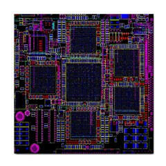 Technology Circuit Board Layout Pattern Face Towel by Amaryn4rt